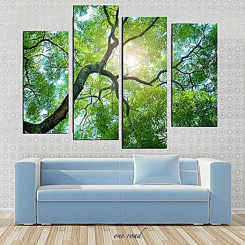 30X80Cm 4 Frameless Green Tree Oil Canvas Modern Painting Wall Painting Family Decoration