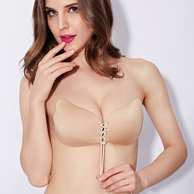 5d22cafd3d Silicone Adhesive Breathable Sticky Push Up Strapless Invisible Backless Bra  - Beige
