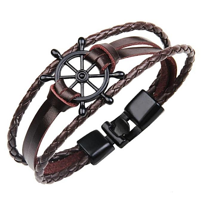 Sailor Bracelet For Multilayer Leather Jewelry Stainless Steel Rudder Buckle Bracelets Bangles