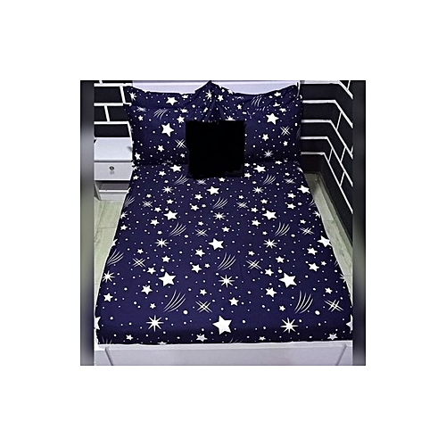 Starry Night Blue Bedsheet With 4 Pillowcases