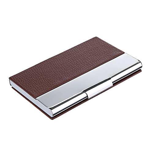 Buy louis will synthetic leather business card credit id card holder synthetic leather business card credit id card holder metal frame case organizerdark brown reheart Gallery
