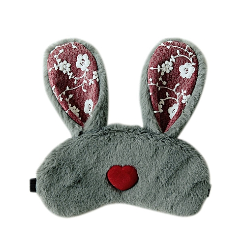 GB Long Ear Rabbit Sleep Eye Mask Eyeshade Relieving Fatigue Eyes Protector Cover-gray & Red