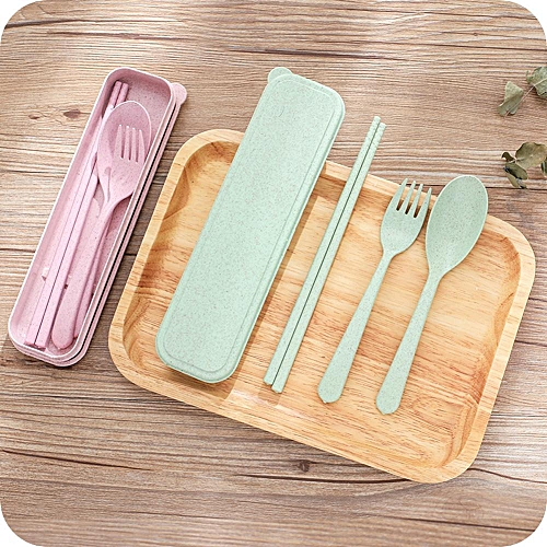 3Pcs/set Healthy Wheat Straw Tableware Portable Travel Dinner Tool With Storage Box