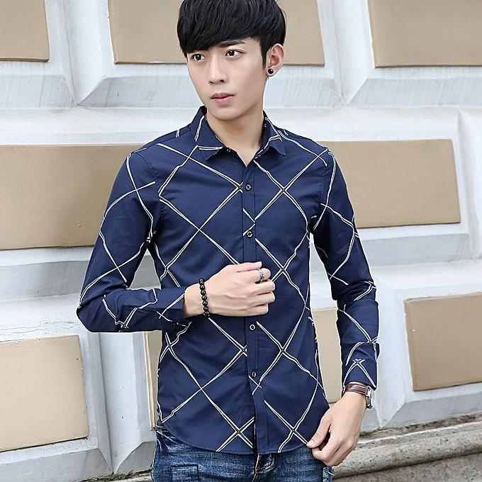 4a884b087 BLUE Men's Long Sleeved Shirt Stripes 2018 Autumn New Men's Youth Shirt  Shirt Slim Korean Version