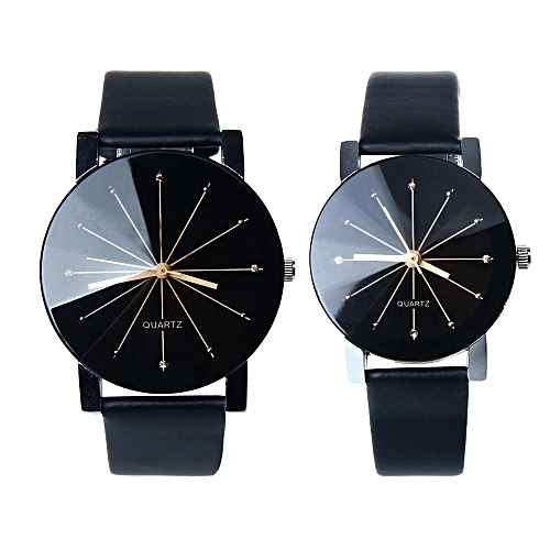 Fashion 1 Pair Of Couple Wrist Watch Casual PU Leather Round Dial Watchband (Black)
