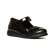 Walkright Girls Black Cat Face School Shoe