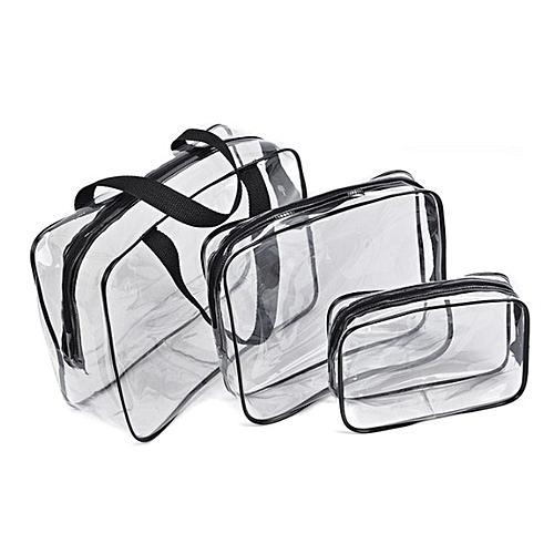 3pcs/set Transparent Makeup Bag PVC Travel Cosmetic Set Zipper Storage Black & Clear