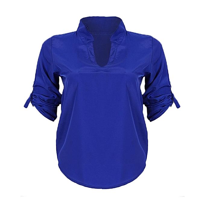 620169264e08 Fashion Ladies High Collar Long Sleeve Top - Royal Blue | Jumia NG