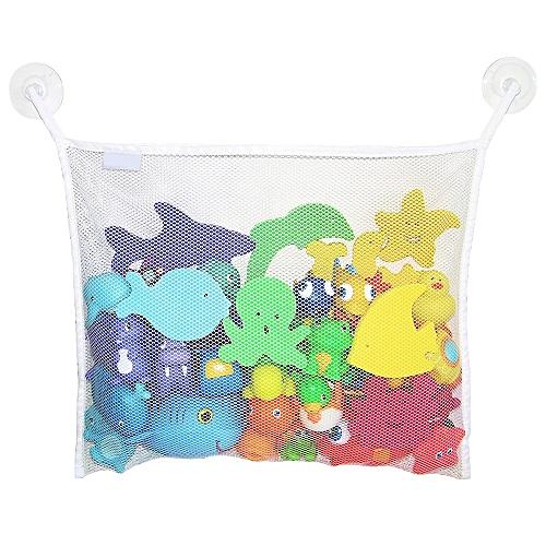 Bath Toy Organizer Mesh Storage Hanging Bag + 2 Bonus Strong Hooked Suction Cups White
