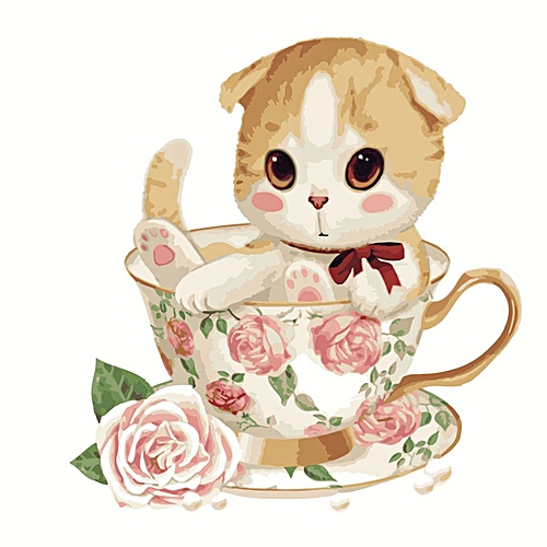 Diy Coloring By Numbers Wall Art Oil Painting Home Decoration DIY Cute Animal Digital Painting Cup Cat Little Photo Color Cat