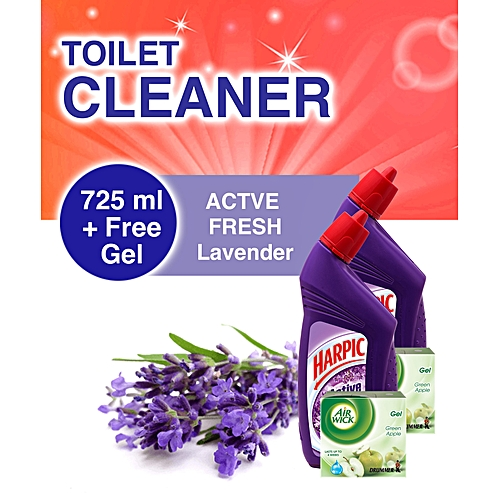 Toilet Cleaner: Lavender 725ml + FREE AirWick Drummer Gel - Pack Of 2