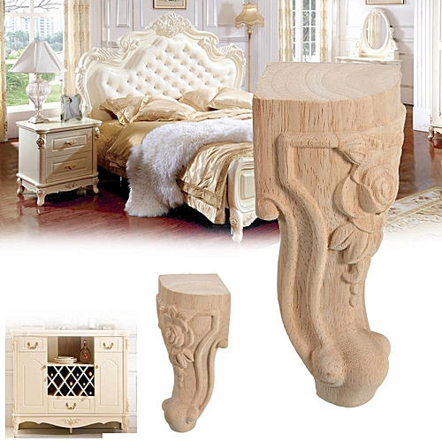 15*6cm Wood Carved Leaf Corbel Onlay Frame Decor Furniture Table Craft Unpainted