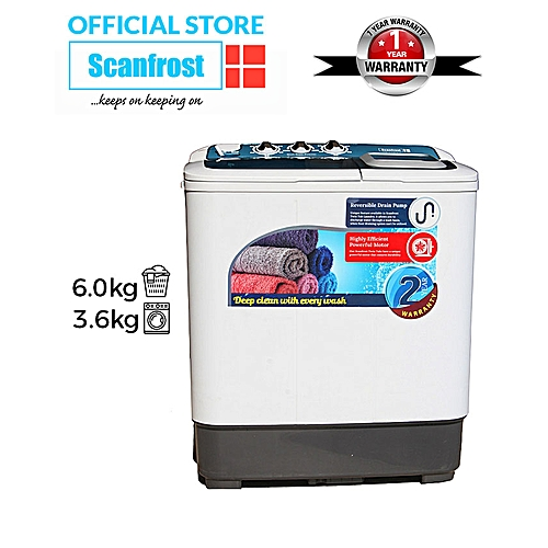 Scanfrost Semi-Automatic Washing Machine- 6kg