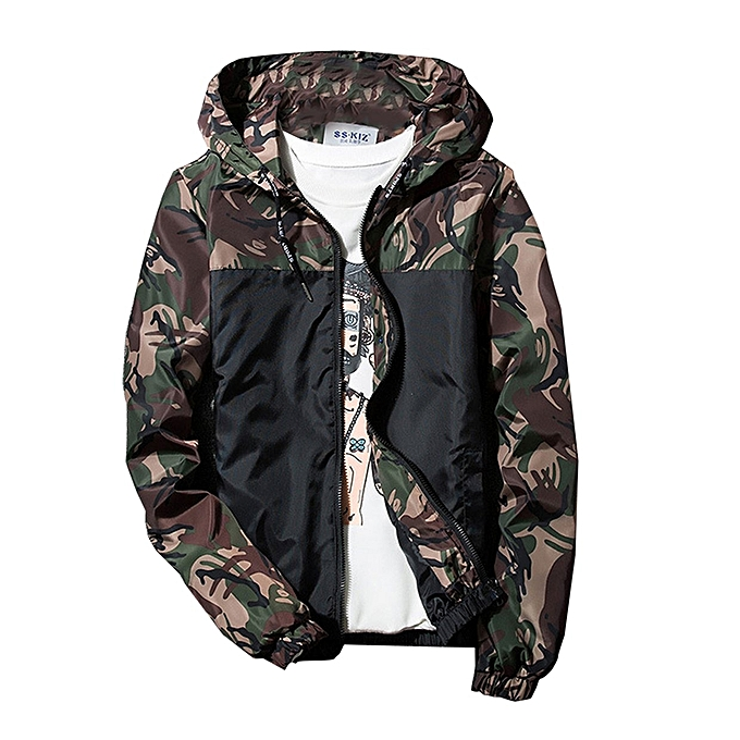 562bfb305747e Camouflage Young Boys Girls Outwear Windbreaker Leisure Coat Hooded  Overcoat-Army Green