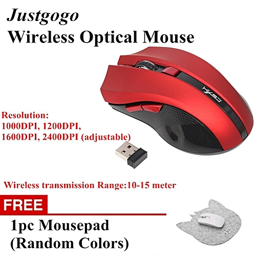 Buy 1 Free 1 2.4GHz Gaming Mouse Wireless Optical Mouse Mechanical Mouses W/ 6 Keys Red
