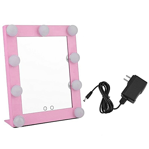 Portable 9 LEDs Bulb Vanity Lighted Makeup Mirror Dimmer Beauty Mirror Pink