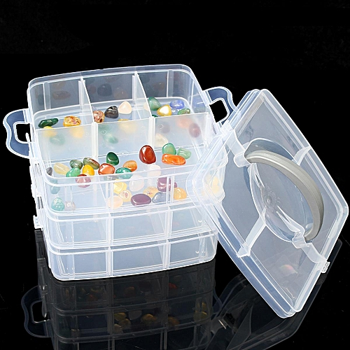 Compartment Box Clear Plastic Storage Organiser Tool Case Jewellery Craft Beads Medium