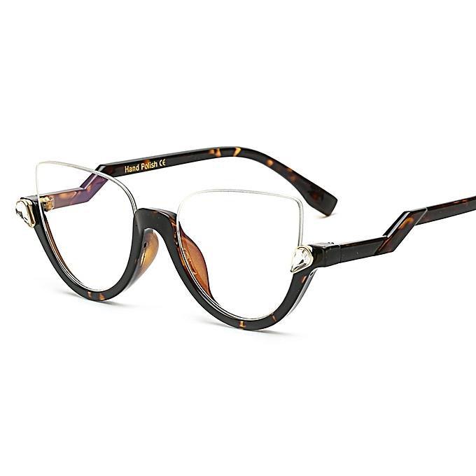 Peekaboo Clear Crystal Half Frame Cat Eye Eye Glasses Women Optical ...