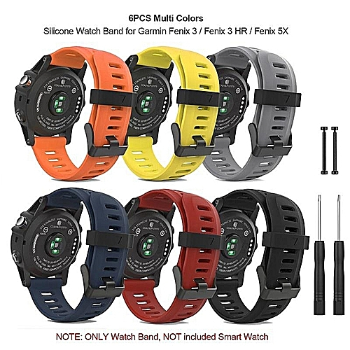 6PCS Soft Silicone Watch Band Strap With Lugs Connector And Screwdriver For Garmin Fenix 3 / Fenix 3 HR / Fenix 5X Smart Watch - Multi Colors MQSHOP