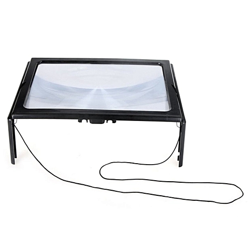 Allwin Full Page PVC Reading Magnifier Foldable Magnifying Loupe With 4 LED Lights