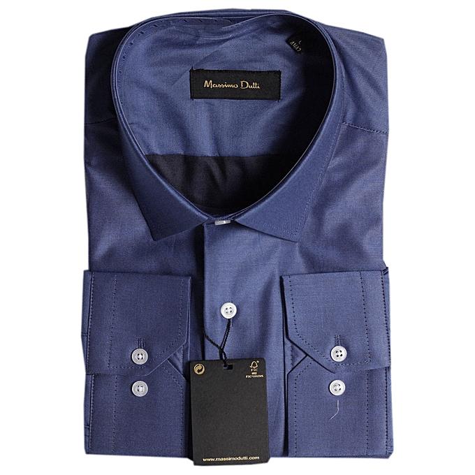 cdb904533 Massimo Dutti Men's Long Sleeve Turkey Shirt Slim Fit - Plain Blue ...