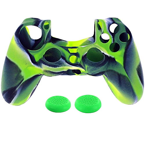 1PC Silicone Case Cover +2PC Rocker Cap For Playstation 4 PS4 Controller