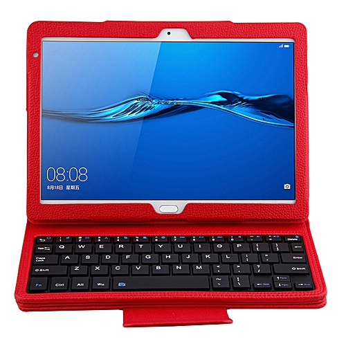 SA104 Huawei M3 Tablet 10.1 Inch ABS Litchi Texture Horizontal Flip Case + Bluetooth Keyboard(Red)
