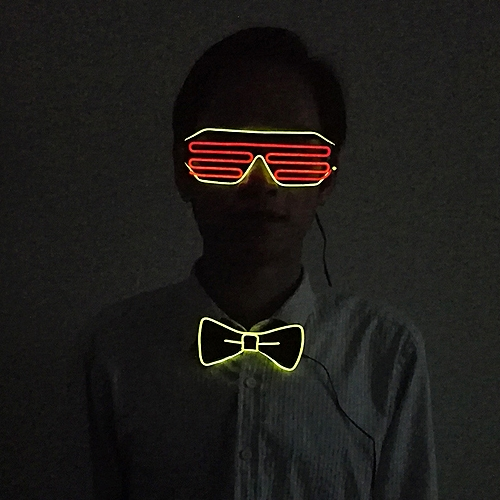 Halloween EL Shutter Glasses+EL BowTie Light Up Blink LED Glowing Rave Glasses LED BowTie Glow Party Supplies With DC3V