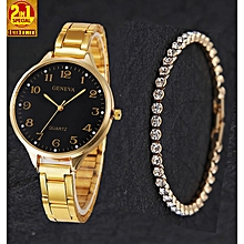 322274a43abb 2-In-1 Trendy Female Watch With Studded Bracelet - Gold