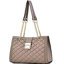 7b330f8f263e QUILTED Leather Handbag MODEL 2- KHAKI