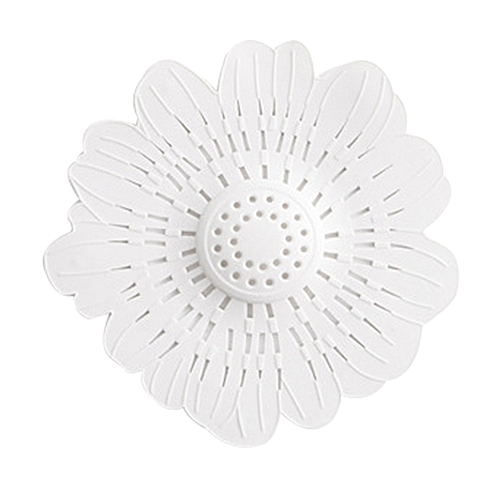 Lovely Flower Shape Bath Kitchen Waste Sink Strainer Stopper Drain Cover Filter-White