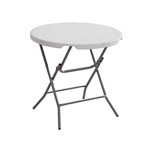 Round Plastic Table With 4 Foldable Metal Legs