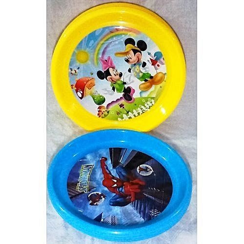 8 Yellow And 4 Blue Multicolour Children Plastic Plates-Pack Of 12 ( Character May Differ)