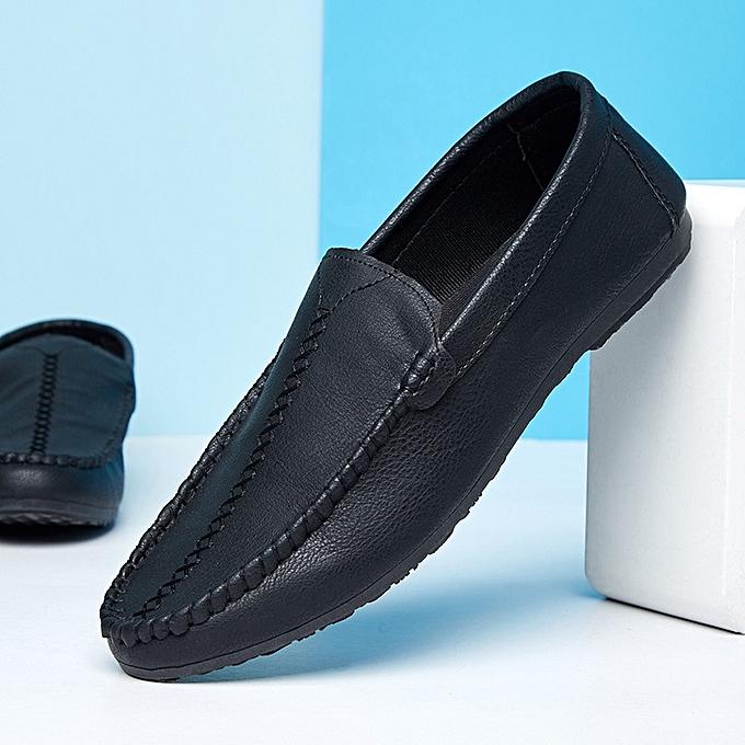 61473bae6831e6 Longo Best Flat Casual Fashion Men's Loafers Slip Ons Shoes-Black ...