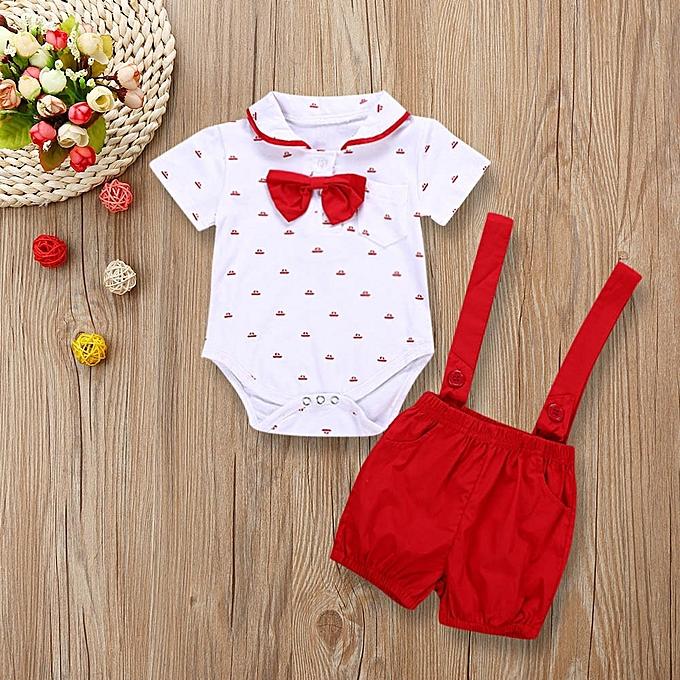 f3da5c496800 Fashion 2PCS Baby Infant Boys Short Sleeve Romper Clothes + Toddler ...