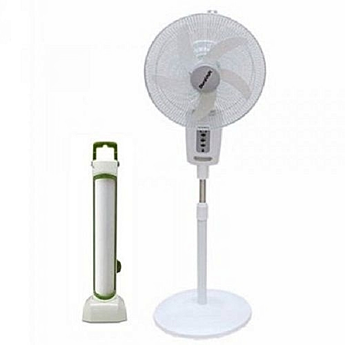 """18"""" Rechargeable Fan With Remote + Rechargeable Latern"""