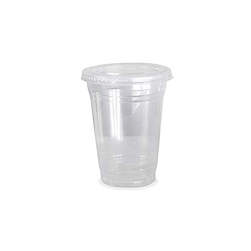 Disposable Smoothie Cups With Flat Lids - 1 Dozen