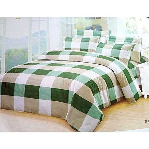 Bedsheets With 4pillow Cases- Green Squares