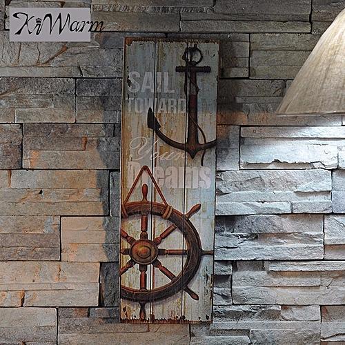 Retro Wood Nautical Decor Lighthouse Anchor Sign Art Wall Mount Home Bar