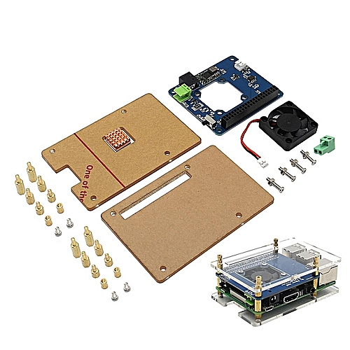 Geekworm Programmable Smart Temperature Control Fan And Power Expansion Board + Acrylic Case + Copper Heat Sink Kit For Raspberry Pi 3 / 2B / B+