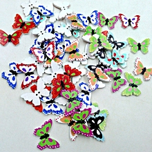 100PCS Wooden Buttons Butterfly Shape Mixed Color 2 Holes Sewing Scrapbook DIY for sale  Nigeria