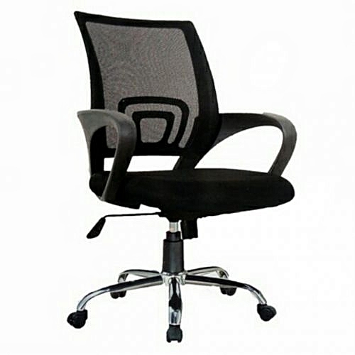 Vigorite Medium Back Mesh And Fabric Swivel Office Chair With Metal Base - (Delivery Within LAGOS Only)