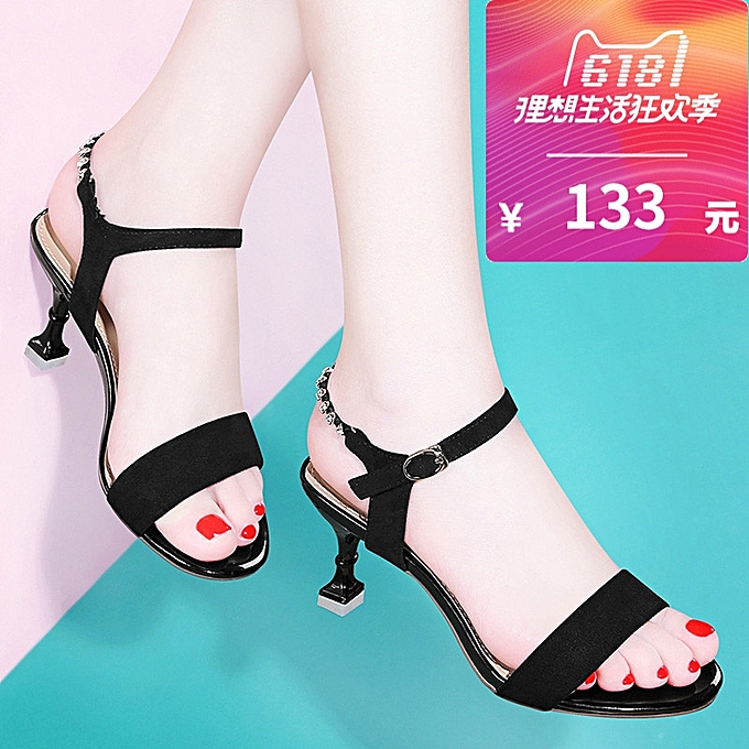 7dd8b2a0b552dc High-heeled Shoes With Thin Female Summer 2018 Summer New Word Buckle Shoes  Korean Wild
