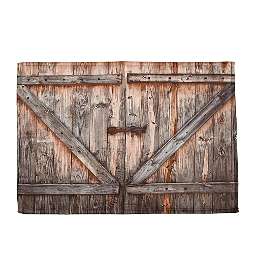 72X72'' Rustic Wooden Barn Door Shower Curtain Bathroom Decor Waterproof Fabric