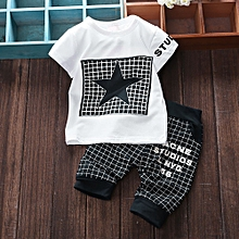 5d8a6e171c Tectores 2Pcs Infant Kid Boys Girl Letter Star Print Plaid Tops+Pants  Outfits Clothes Set
