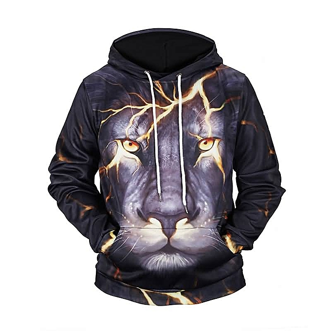 ded66338b1 Passion Pie 3D Lightning Lion Hoodie Handsome 3D Print Pullover ...