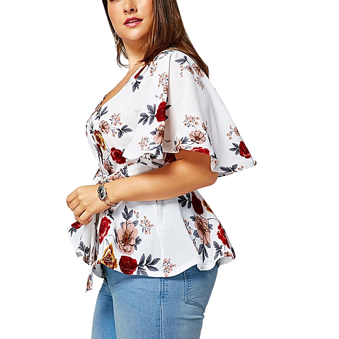 7a1ef8ebaf33c Fashion Floral Plus Size Belted Surplice Peplum Blouse