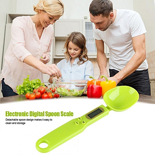 500g/0.1g LCD Digital Kitchen Food Scale With Measuring Spoons (Green)