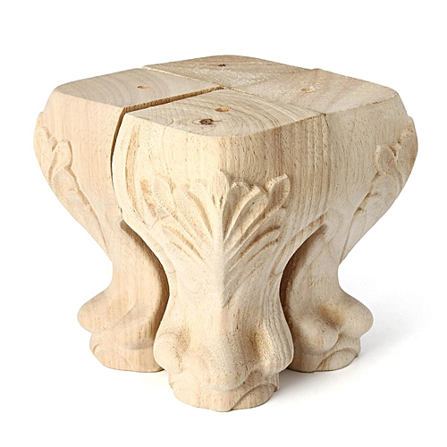4PCS European Style Solid Wood Carved Furniture Foot Legs 100x60mm