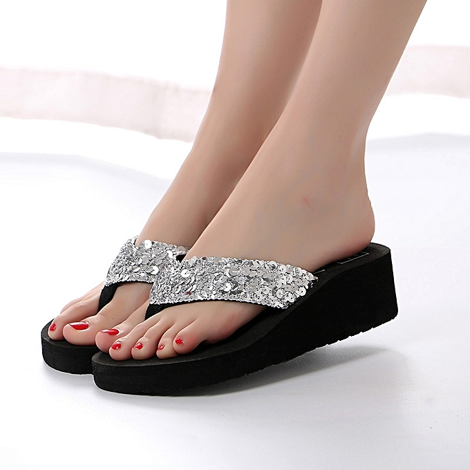 18e0bf11a Summer New Flip-flops With Thick High Heeled Sandal Home Slippers Beach  Shoes Slippers Women